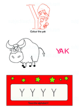 Trace Large Alphabet Y - Free Printable Worksheet