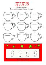 Trace Number 9 - Free Printable Worksheet