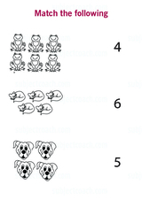 Match object count to a number, up to number 6 - Free Printable Worksheet