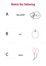 Match an alphabet to an object - Free Printable Worksheet