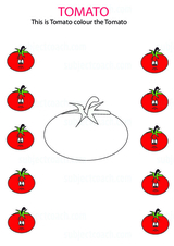 Vegetables: Color the tomato