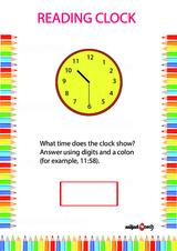 Analog Clock Reading Problem Worksheet #2
