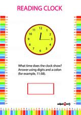 Analog Clock Reading Problem Worksheet #3