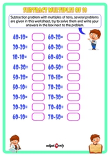 Subtract numbers multiples of tens