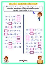 Balance the equation Sheet 1