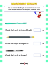 Measurements. Estimate the length. Sheet 1.