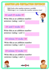 Addition and Subtraction number sentences. Sheet 1.
