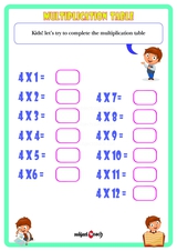 Multiplication Table 4 Worksheet