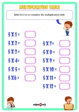 Multiplication Table 5 Worksheet