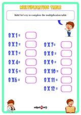 Multiplication Table 8 Worksheet