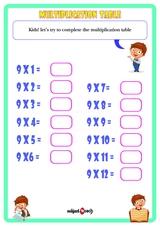 Multiplication Table 9 Worksheet