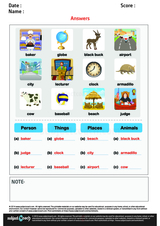 Sort Nouns as Person Place Animal or Thin/1