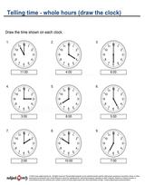 Telling time/Whole hour draw clock (4)