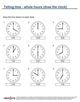 Telling time/Whole hour draw clock (6)
