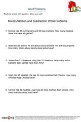 word problems/sheet 11