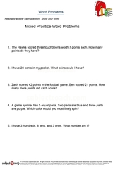 word problems/sheet 7